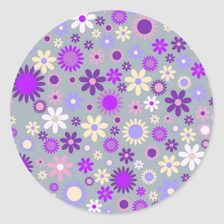 Colorful flowers pattern design round sticker