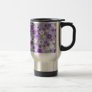 Colorful flowers pattern design stainless steel travel mug