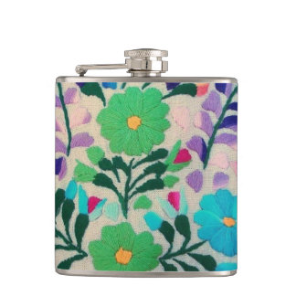 Colorful Flowers Pattern Hip Flask