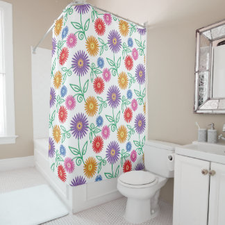Colorful Flowers Pattern | Modern Floral Shower Curtain