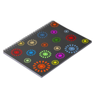 Colorful flowers pattern notebook