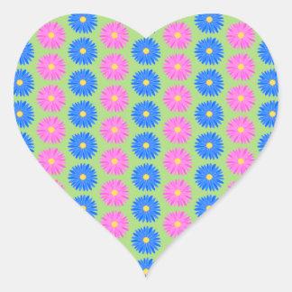 Colorful Flowers Pattern Heart Sticker