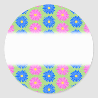 Colorful Flowers Pattern Round Sticker