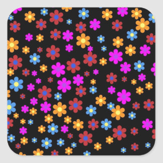 Colorful flowers pattern square sticker