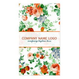 Colorful Flowers Pattern White Background Pack Of Standard Business Cards