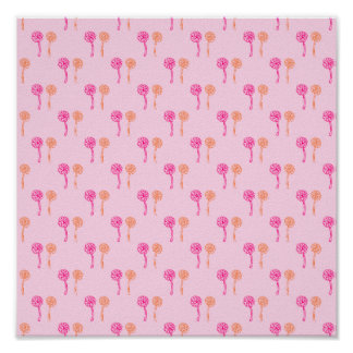 Colorful flowers Pink and Orange Pattern Print