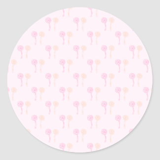 Colorful flowers. Pink and Orange Pattern. Round Sticker