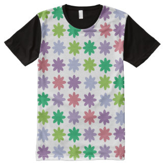 Colorful Flowers Pink Green Purple Pattern All-Over Print T-Shirt