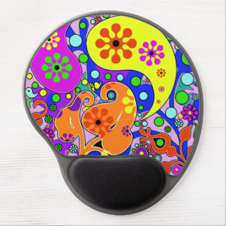 Colorful Flowers Retro Paisley Pattern Gel Mouse Pad