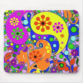 Colorful Flowers Retro Paisley Pattern Mouse Pad