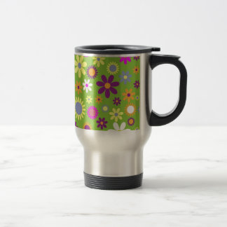 Colorful flowers seamless pattern stainless steel travel mug