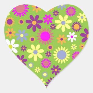 Colorful flowers seamless pattern heart sticker
