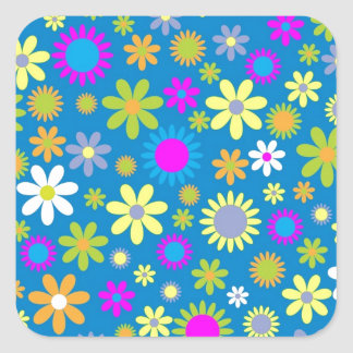 Colorful flowers wallpaper square sticker