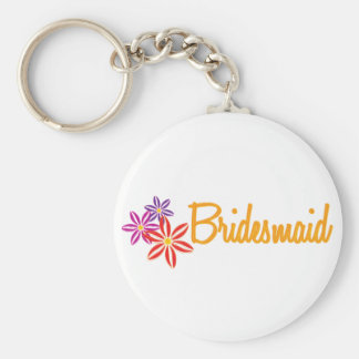 Colorful Flowers Wedding Basic Round Button Key Ring