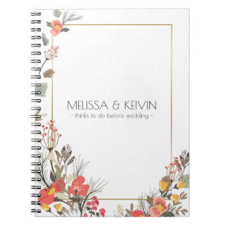 Colorful Flowers Wedding  Design Template Spiral Notebook