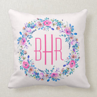 Colorful Flowers Wedding Wreath Cushion