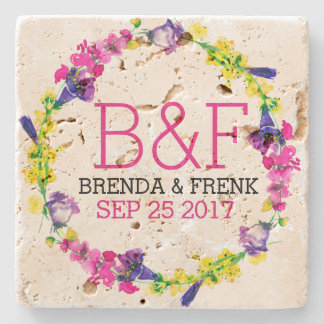 Colorful Flowers Wreath Wedding Text Template Stone Coaster