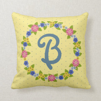 Colorful Flowers Wreath with Monogram Cushion