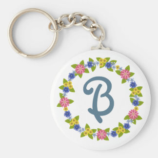 Colorful Flowers Wreath with Monogram Key Ring