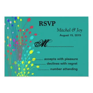 Colorful FlowersWedding RSVP Reply Cards 13 Cm X 18 Cm Invitation Card