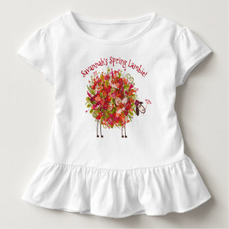 Colorful Flowery Spring Lamb - Personalized Toddler T-Shirt