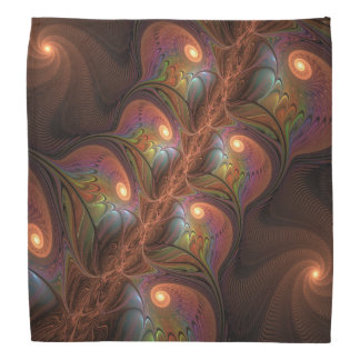 Colorful Fluorescent Abstract Modern Brown Fractal Bandana