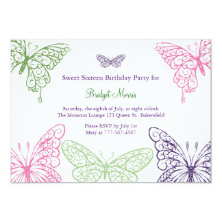 Colorful Fluttering Butterflies Sweet Sixteen 13 Cm X 18 Cm Invitation Card