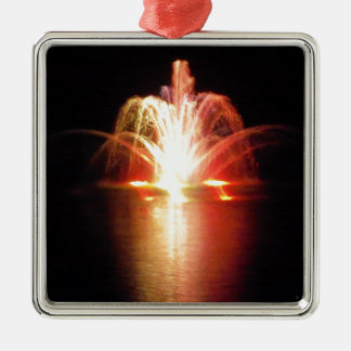 Colorful Fountain at Night in the Park Christmas Ornament