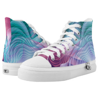 Colorful fractal flowers printed shoes