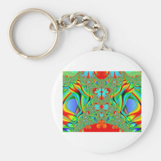 Colorful fractal skins basic round button key ring