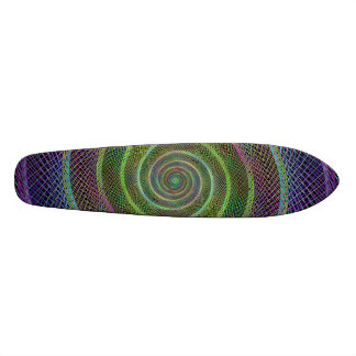 Colorful fractal spiral 21.6 cm skateboard deck