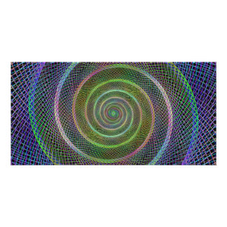 Colorful fractal spiral customised photo card
