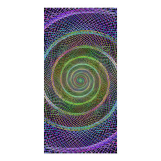 Colorful fractal spiral customized photo card