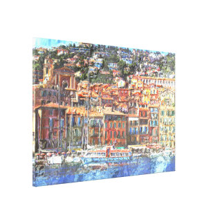 Colorful French Riviera Coast Aquarelle Painting Canvas Print