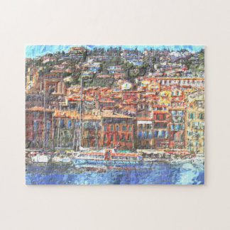 Colorful French Riviera Coast Aquarelle Painting Jigsaw Puzzle
