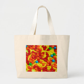 Colorful fruit candy pattern large tote bag