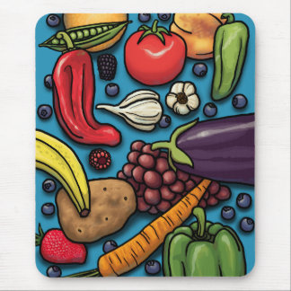 Colorful Fruits and Vegetables on Blue Mouse Mat
