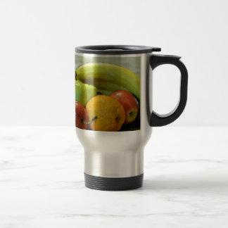 Colorful fruits tray, Orange, apple, pear, 15 Oz Stainless Steel Travel Mug