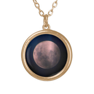 Colorful Full Lunar Moon Rainbow Sky Gold Plated Necklace