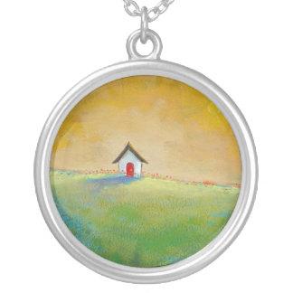 Colorful fun art happy landscape Living in Color Round Pendant Necklace