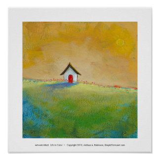 Colorful fun art happy landscape Living in Color Poster