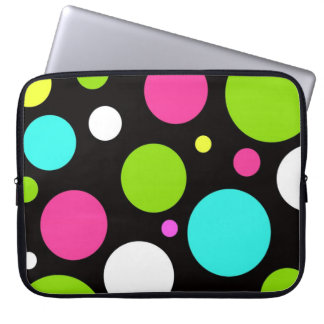 Colorful Fun Big Polka Dots on Black Laptop Sleeve