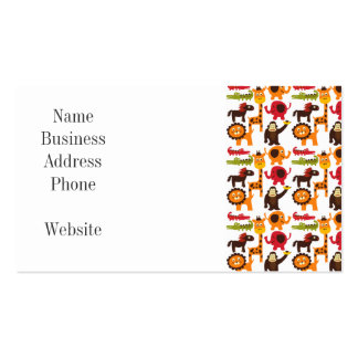 Colorful Fun Cute Jungle Village Safari Zoo Animal Double-Sided Standard Business Cards (Pack Of 100)