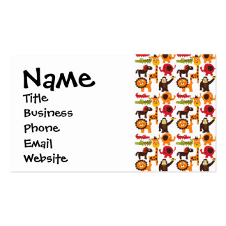 Colorful Fun Cute Jungle Village Safari Zoo Animal Business Card Template