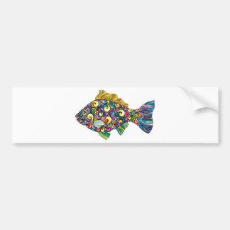Colorful fun fish bumper sticker