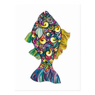 Colorful fun fish postcard