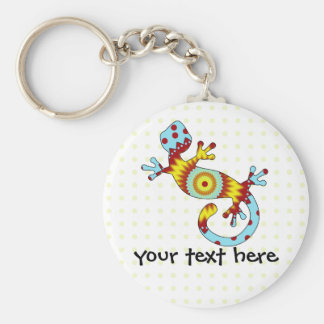 Colorful Fun Gecko Lizard Basic Round Button Key Ring