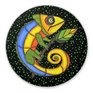 Colorful Fun Lizard Branch Dots Ceramic Knob