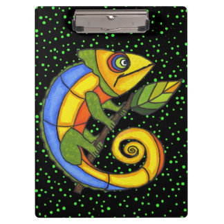 Colorful Fun Lizard Branch Dots Clipboard