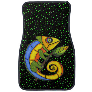 Colorful Fun Lizard Branch Dots Floor Mat